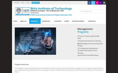 Screenshot of Team Page biticrak.ae - Management Programs - Birla Institute of Technology - captured Oct. 5, 2014