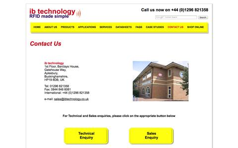 Screenshot of Contact Page ibtechnology.co.uk - ib technology - contact details -  RFID Single Chip Reader Solutions - UK - captured Sept. 30, 2014
