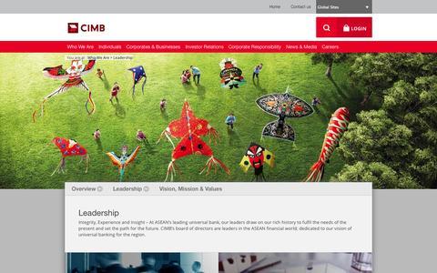 Screenshot of Team Page cimb.com - CIMB Group - Leadership - captured Sept. 23, 2014