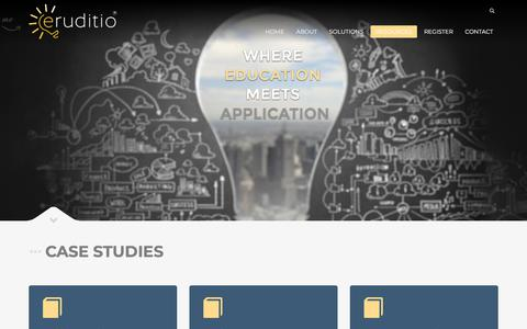 Screenshot of Case Studies Page eruditiollc.com - Case Studies - Eruditiollc - captured July 20, 2018
