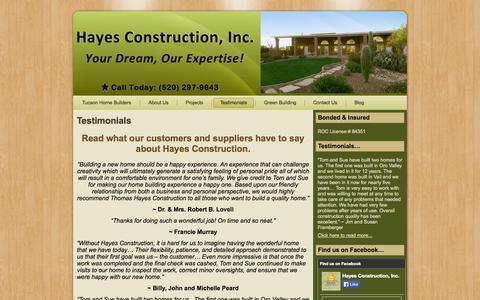 Screenshot of Testimonials Page hayesconstructiontucson.com - Testimonials   Hayes Construction - captured Oct. 2, 2014