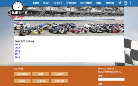 Screenshot of Press Page matttifftracing.com - News | Matt Tifft Racing - captured Oct. 27, 2014