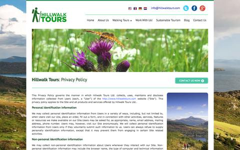 Screenshot of Privacy Page hillwalktours.com - Hillwalk Tours | Self Guided Walking Holidays | Privacy Policy - captured Nov. 26, 2017