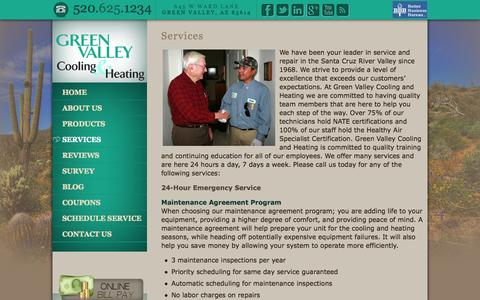 Screenshot of Services Page greenvalleycooling.com - Services   Green Valley Cooling and Heating - captured Oct. 23, 2014
