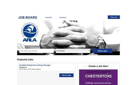 Screenshot of Jobs Page arla.co.uk - Career Centre Jobs - captured Aug. 28, 2016