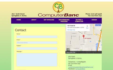 Screenshot of Contact Page computerbanc.org - Contact Us - captured Dec. 10, 2015