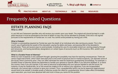 Screenshot of FAQ Page ohalllaw.com - Frequently Asked Questions - Ohall Law - captured Sept. 27, 2018