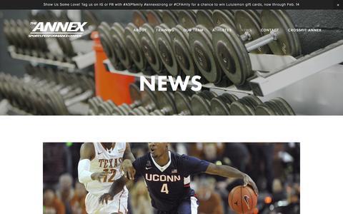 Screenshot of Press Page annexsportsperformance.com - News — The Annex Sports Performance Center - captured Feb. 6, 2016