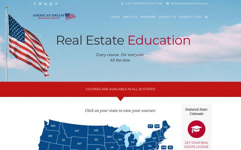 Screenshot of Home Page americandreamreschool.com - American Dream Real Estate School   Courses in 50 States - captured Oct. 3, 2018