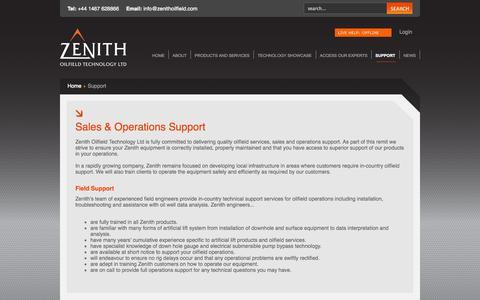 Screenshot of Support Page zenithoilfield.com - Operations Support | Oilfield Services | Zenith Oilfield-Zenith Oilfield Technology - captured Nov. 4, 2014