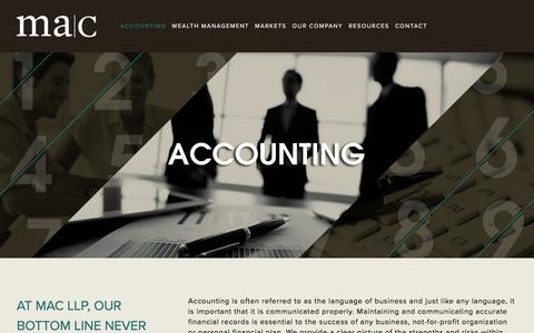 Screenshot of Services Page mac-ca.com - Accounting — MAC LLP Chartered Professional Accountants - captured Nov. 18, 2016