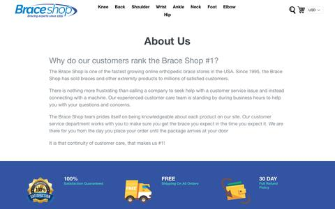Screenshot of About Page braceshop.com - About Us            – Brace Shop - captured March 17, 2019