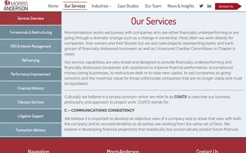 Screenshot of Services Page morrisanderson.com - Our Services - MorrisAnderson & Associates, Ltd - captured Oct. 20, 2018