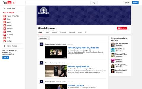 Screenshot of YouTube Page youtube.com - ClassicDisplays  - YouTube - captured Oct. 22, 2014