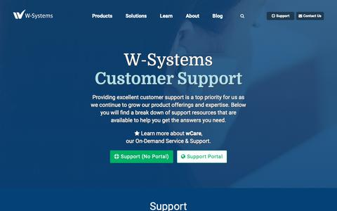 Screenshot of Support Page w-systems.com - (1) New Message! - captured Nov. 22, 2018