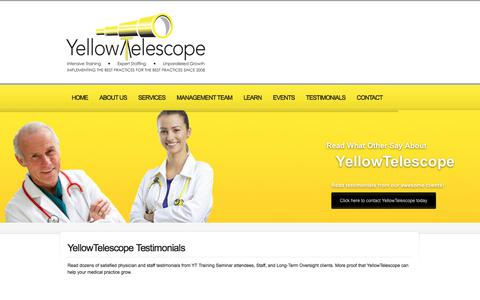 Screenshot of Testimonials Page yellowtelescope.com - Medical Management, Staffing, & Training Reviews | YellowTelescope - captured Oct. 3, 2017