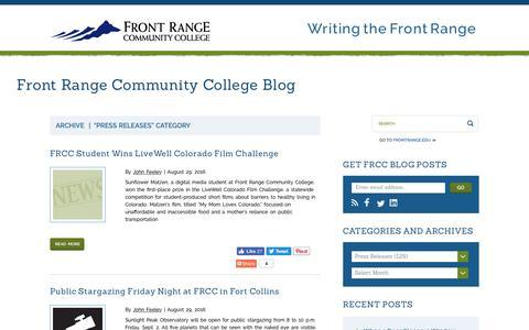Screenshot of Press Page frontrange.edu - Press Releases   Front Range Community College Blog - captured Sept. 1, 2016