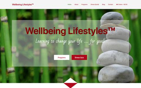 Screenshot of Home Page wellbeinglifestyles.com - Wellbeing Lifestyles™ - captured Oct. 20, 2018