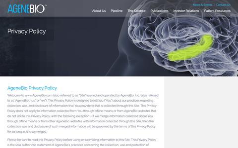 Screenshot of Privacy Page agenebio.com - Privacy Policy - AgeneBio | Developing Innovative Therapeutics that Preserve and Restore Brain Function : AgeneBio | Developing Innovative Therapeutics that Preserve and Restore Brain Function - captured Oct. 19, 2018