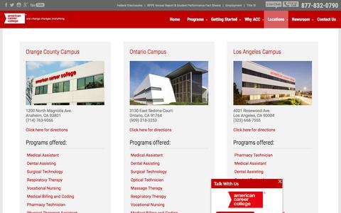Screenshot of Locations Page americancareercollege.edu - Our Campuses | Colleges in California | ACC - captured Feb. 22, 2018