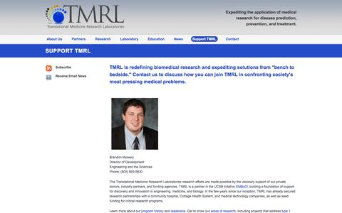 Screenshot of Support Page ucsb.edu - Support TMRL | TMRL Translational Medical Research Laboratory - captured Sept. 18, 2014