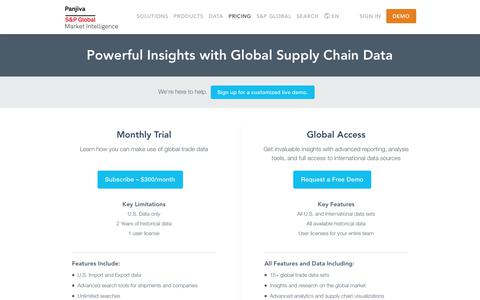Screenshot of Pricing Page panjiva.com - Plans and Pricing – Powerful Insights with Global Supply Chain Data — Panjiva - captured Dec. 7, 2018