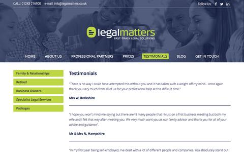 Screenshot of Testimonials Page legalmatters.co.uk - Legal service Providers UK | Testimonials at Legal Matters - captured May 25, 2017