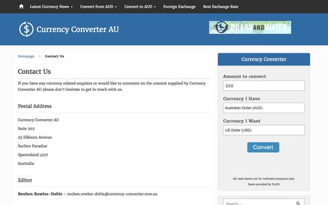 Screenshot of Contact Page currency-converter.com.au - Contact Us - Currency Converter AU - captured Aug. 23, 2016