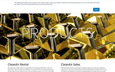Screenshot of Products Page cleanair.com - Products – CleanAir - captured Dec. 8, 2018