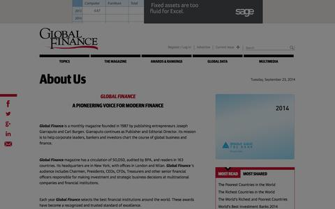 Screenshot of About Page gfmag.com - About Us | Global Finance Magazine - captured Sept. 23, 2014