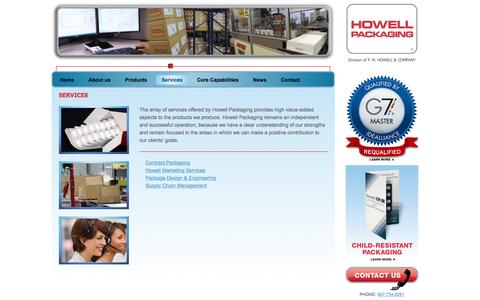 Screenshot of Services Page howellpkg.com - Services | Howell Packaging - captured Jan. 22, 2016