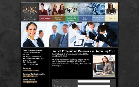 Screenshot of Contact Page prrcorp.com - PRR Corp, Staffing Agency, Employment Temp and Direct Hire, Resume Services - captured Sept. 26, 2014
