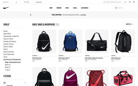 Screenshot of nike.com - Girls' Backpacks. Nike.com - captured June 30, 2017