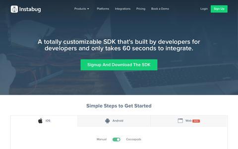 Screenshot of Developers Page instabug.com - SDK Integration | Instabug - captured June 5, 2018