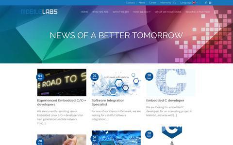 Screenshot of Press Page mobilelabs.se - News | Mobile Labs Sweden AB - captured Nov. 16, 2017