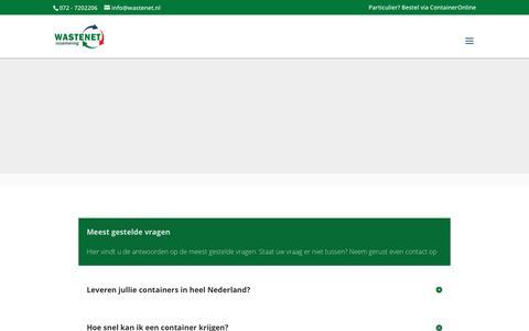 Screenshot of FAQ Page wastenet.nl - FAQ - Veelgestelde vragen - Wastenet inzameling - uw afvalmanager - captured May 30, 2019