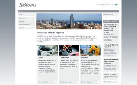 Screenshot of Home Page staubli.es - Conectores, Robotica, Maquinas textiles-Stäubli - captured June 8, 2017