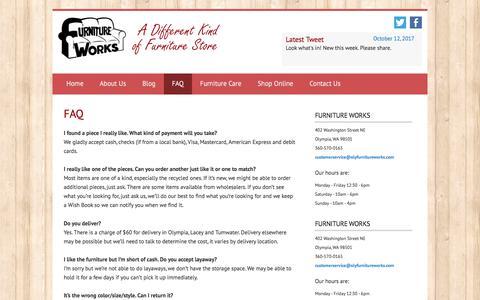Screenshot of FAQ Page olyfurnitureworks.com - FAQ - Furniture WorksFurniture Works - captured Oct. 14, 2017