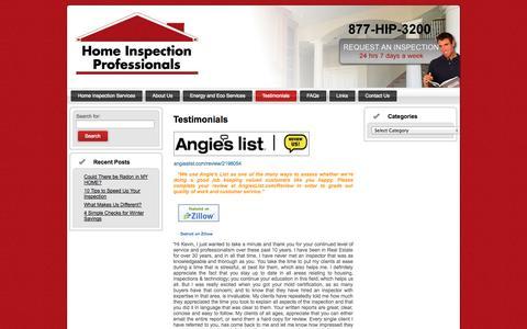 Screenshot of Testimonials Page homeinspectionprofessionals.com - Home Inspection Professionals Testimonials | Home Inspection Professionals - captured Sept. 30, 2014
