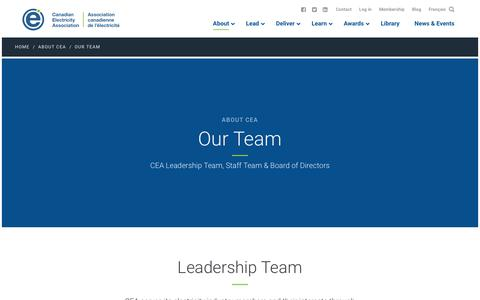 Screenshot of Team Page electricity.ca - Our Team - Canadian Electricity Association - captured July 1, 2018
