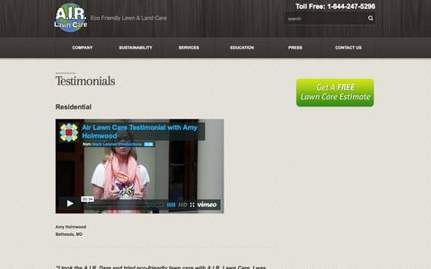 Screenshot of Testimonials Page airlawncare.com - Testimonials  – A.I.R. Lawn Care - captured Oct. 29, 2014