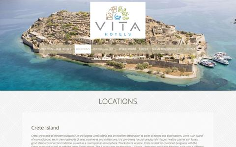 Screenshot of Locations Page vitahotels.gr - VITAGROUP HOTELS - LOCATIONS - captured Oct. 7, 2014