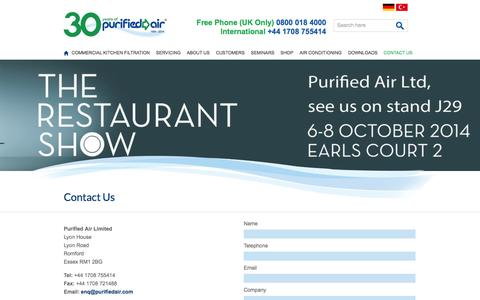 Screenshot of Contact Page purifiedair.com - Contact Purified Air Limited today. on 01708 755 414 or fill in our online form. - Purified Air - captured Sept. 30, 2014