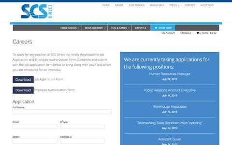 Screenshot of scsdirectinc.com - Careers - SCS Direct Inc - captured Aug. 2, 2015