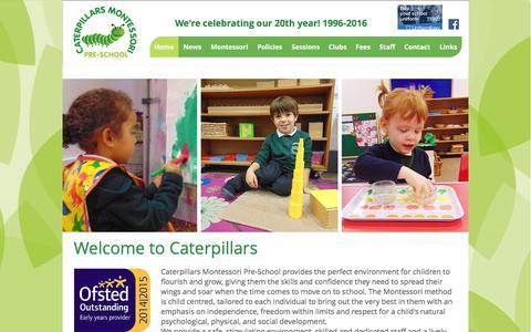 Screenshot of Home Page caterpillarspreschool.co.uk - Caterpillars Montesssori Pre-School | Welcome - captured Jan. 26, 2016