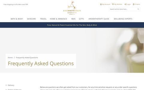 Screenshot of FAQ Page aromatherapyassociates.com - FAQs   Aromatherapy Associates - captured May 30, 2017
