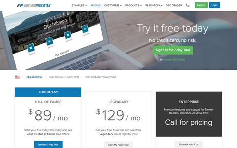 Screenshot of Pricing Page advisorwebsites.com - Pricing and Plans | Advisor Websites™ - captured Oct. 1, 2015
