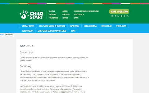 Screenshot of About Page childstart.org - About Us | Child Start - captured July 13, 2016