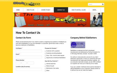 Screenshot of Contact Page slabsetters.com - SlabSetters Contact Us - SlabSetters - captured Oct. 6, 2014
