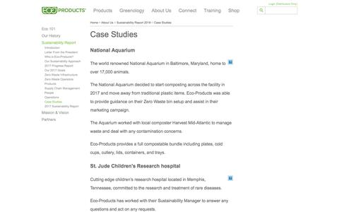 Screenshot of Case Studies Page ecoproducts.com - Case Studies - captured April 23, 2018